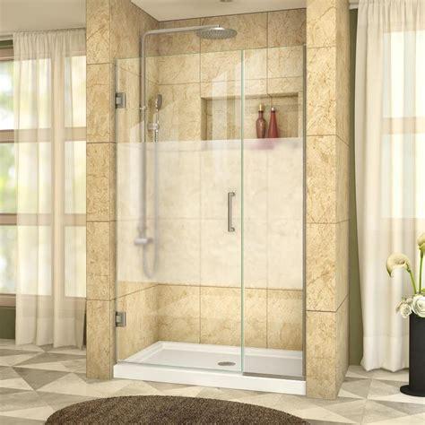 39 Shower Door Shop Dreamline Unidoor Plus 39 In To 39 5 In W Frameless Brushed Nickel Hinged Shower Door At
