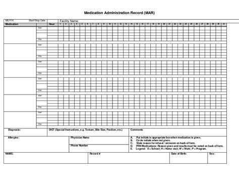 medication record form template medication administration record template pdf business