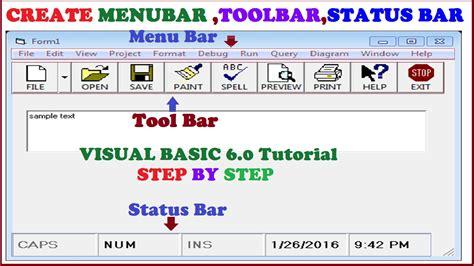 delphi menubar tutorial create tool bar status bar and menu bar using visual basic