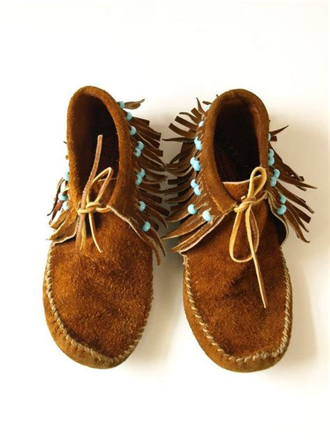 beaded moccasin boots vintage s brown suede leather moccasin turquoise