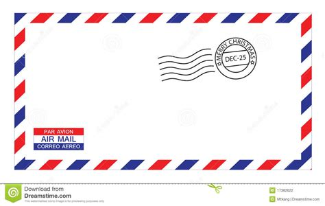 christmas airmail envelope stock vector image of