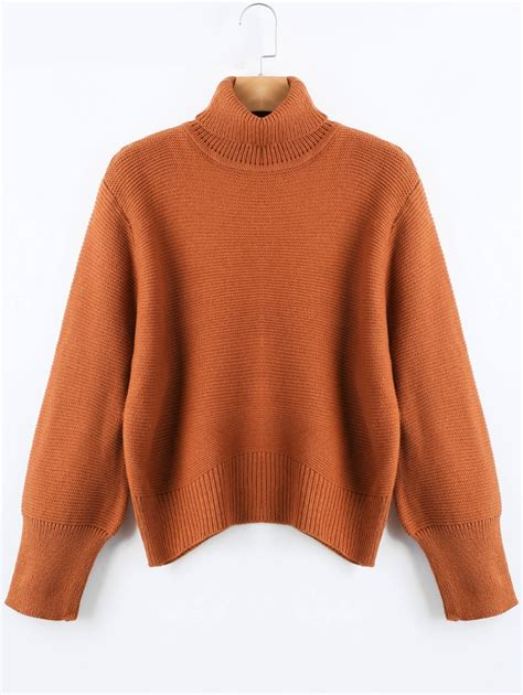 knit sweter 2018 oversized knit turtleneck sweater in brown one size