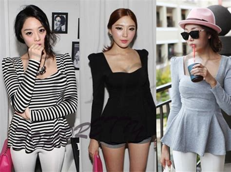 20752 Import Cotton Casual Top Big Stripe s vintage square neck puff sleeve peplum t shirt