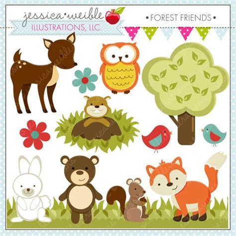theme line forest friend forest friends cute digital clipart commercial use ok