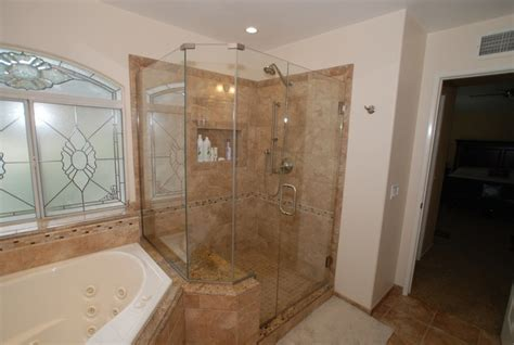 tub shower photo gallery corner tub shower seat master bathroom reconfiguration