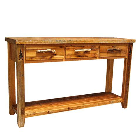 barnwood 3 drawer sofa table with shelf with tree carving