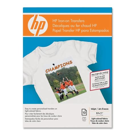 hp printer iron on transfer paper hp iron on transfers 12 pack white quickship com