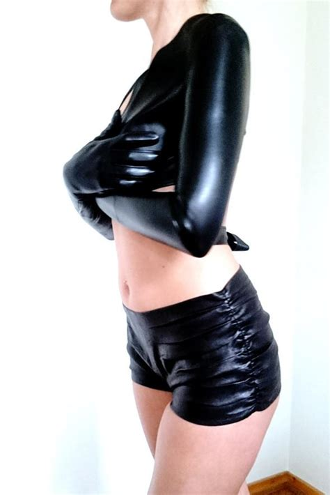 40199 Black Lined Tight Size S stretch leather gloves leather design