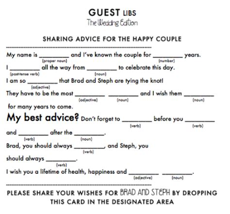 wedding mad libs template weddin reception mad libs weddingbee