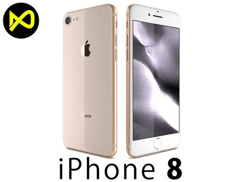 3d apple iphone 8 gold cgtrader