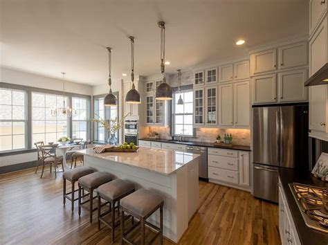l shaped kitchen with island l shaped kitchen with shiplap island transitional kitchen