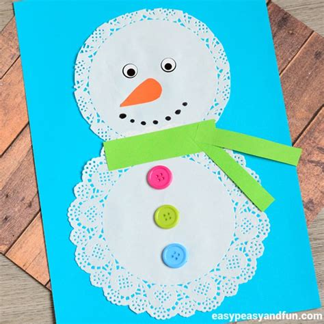 Paper Snowman Craft - doily snowman craft easy peasy and