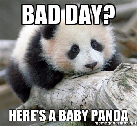 Cute Panda Memes - bad day here s a baby panda sad panda meme generator