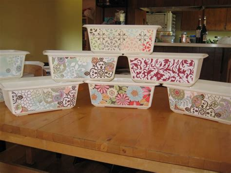 How To Decoupage On Plastic - decoupaged plastic bins for organizing diy crafts