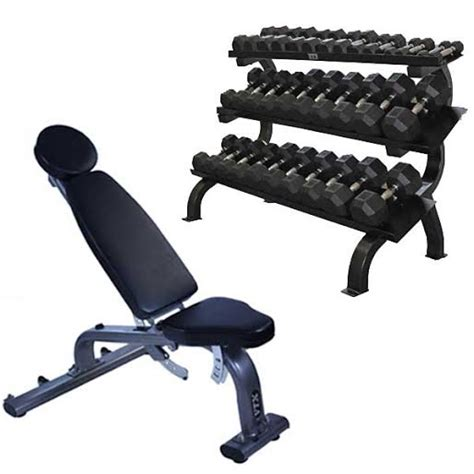 bench and dumbbells rubber hex dumbbell station 5 75lb dumbbells storage
