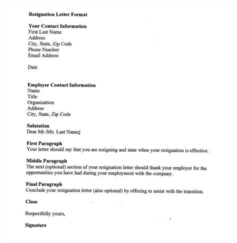 format of letter 28 simple resignation letter template word excel pdf