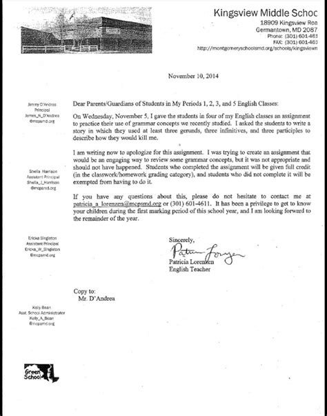 Apology Letter For Killing Someone Parents Shocked By Middle School S Assignment