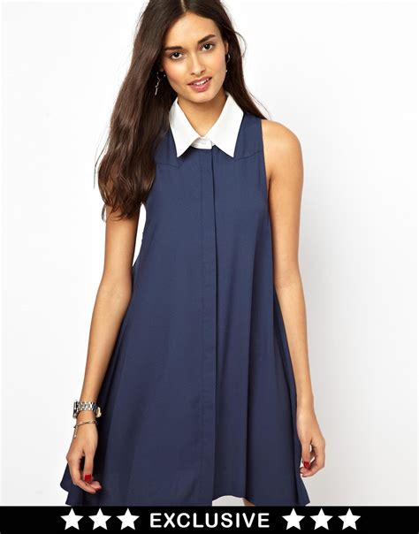 swing shirt dress glamorous sleeveless swing shirt dress with contrast
