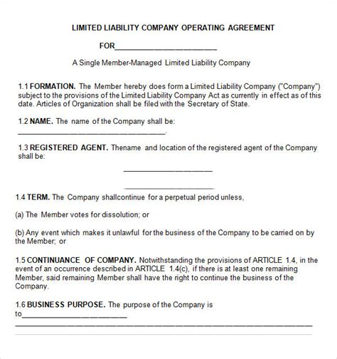 8 Sle Operating Agreement Templates To Download Sle Templates Llc Membership Agreement Template