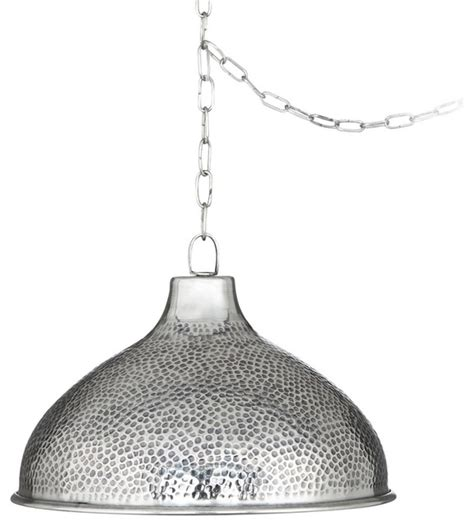 hammered steel pendant light transitional 14 1 4 quot wide hammered steel swag