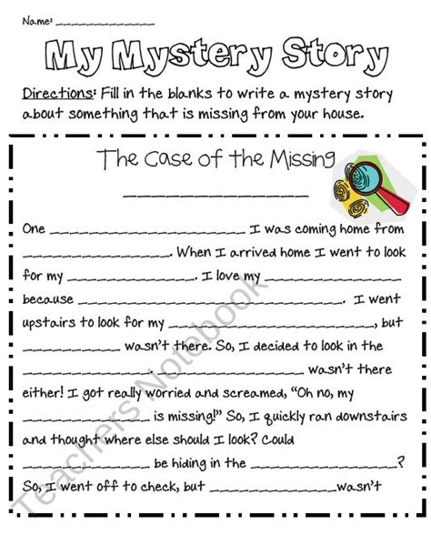 Freebie Use This Quot Fill In The Blanks Quot Writing Template To Guide Your Student In Writing A Writing A Mystery Story Template
