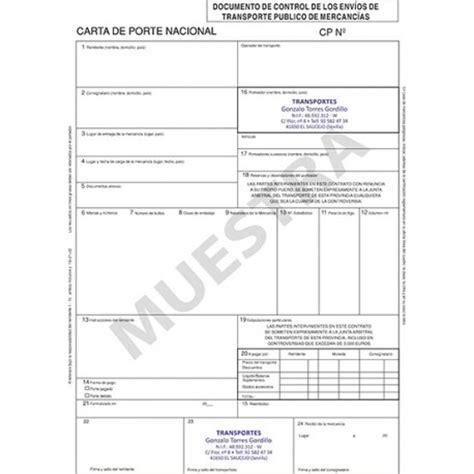 ejemplo de carta porte carta de porte personalizada documentos de transporte