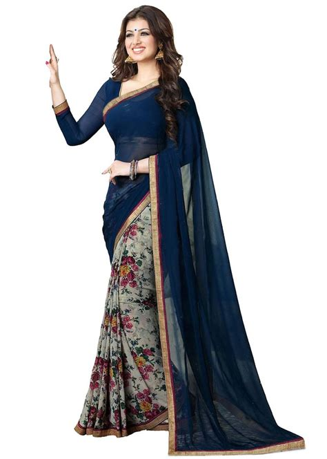 Two Colour Rle Blouse Ree buy neavy blue and color flower design georgette