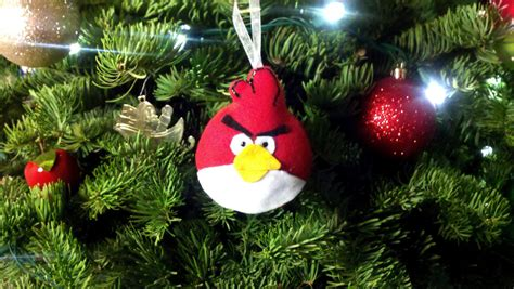 angry birds christmas ornaments red bird by theclockblog