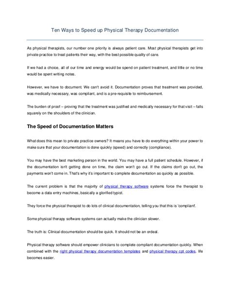 Ten Ways To Speed Up Physical Therapy Documentation Occupational Therapy Documentation Templates