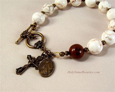 rosary bead bracelet strengthen your brethren rosary bracelet with bronze