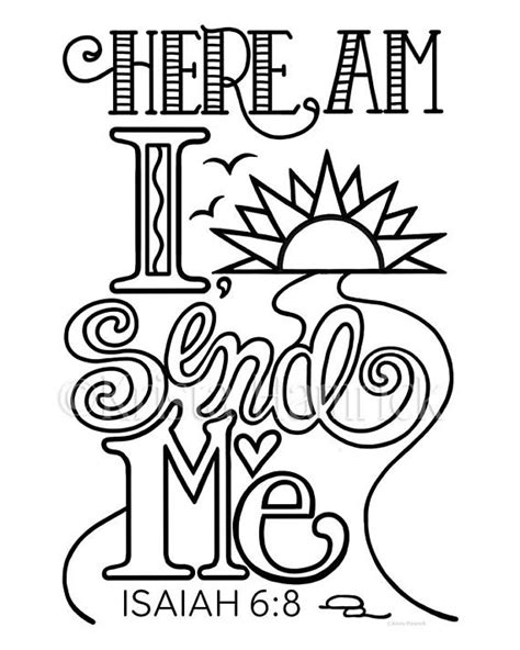 Isaiah 6 Coloring Page by Here Am I Send Me Coloring Page In Two Sizes 8 5x11 Bible