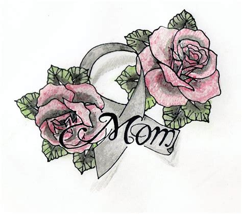 rose tattoo with ribbon drawings with ribbon images cancer