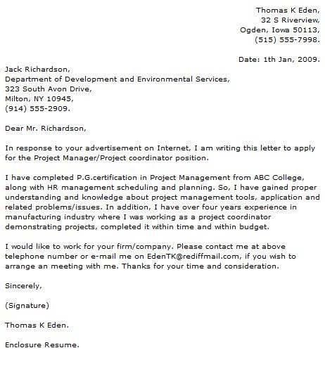 Construction Scheduler Cover Letter by Project Manager Cover Letter Exles Cover Letter Now
