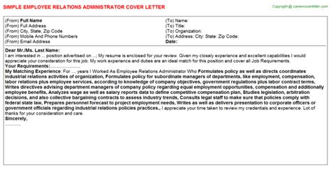 employee relations administrator cover letter job100926