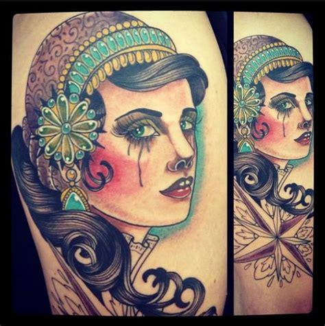 tattoo old school gitana tatuagem new school cigana por time travelling tattoo