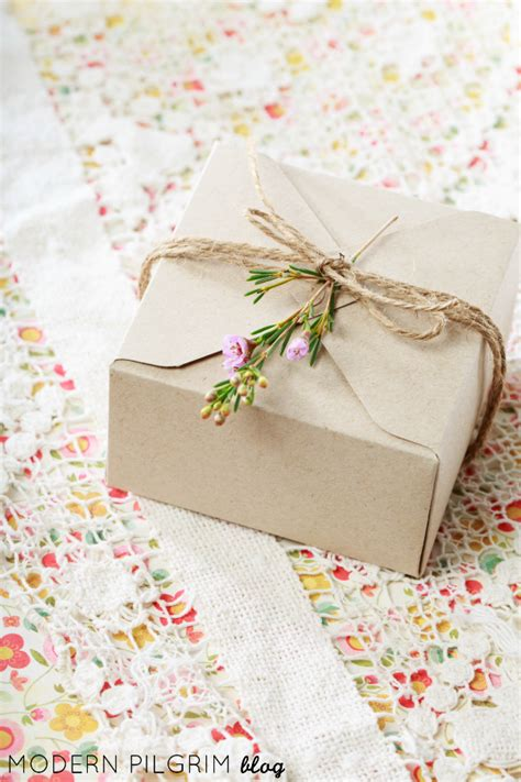 Craft Paper Wrapping - simple gift wrap craft paper twine sprig of flowers