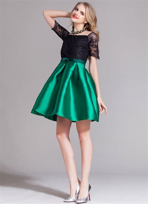 Premium Mini Dress Import Original Gradient Two Colour contrast color lace satin mini dress with bow belt green skirt rd376 robeplus