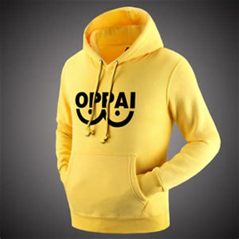 Sweater Hoodie Pullover Oppai anime one punch saitama oppai hoodies yellow sweatshirt jumper pullover ebay