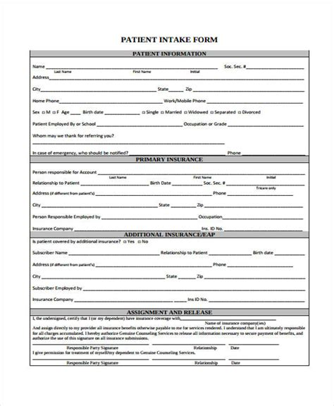 patient intake form template 48 counseling form exles