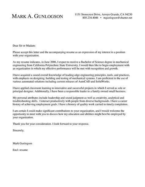 Recommendation Letter Format For Mechanical Engineer cover letter mechanical engineer cover letter sle