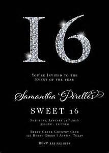 sweet 16 rhinestones invitation