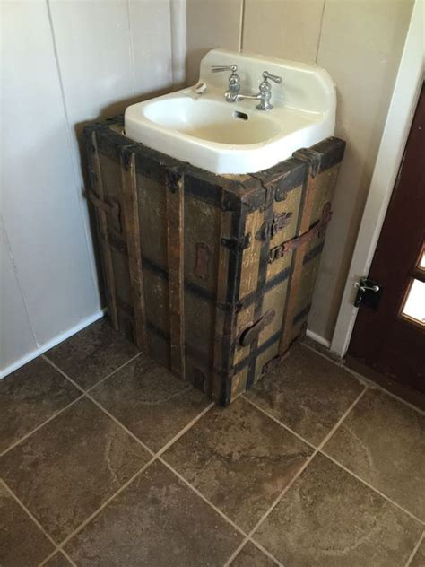 pedestal sink plumbing hide trunks old trunks and sinks on pinterest
