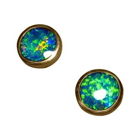 green opal earrings opal stud earrings 14k gold round green opal earrings