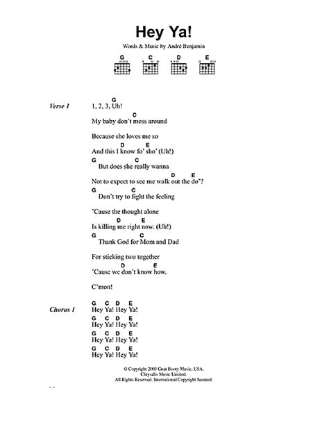 day lyrics outkast hey ya sheet by outkast lyrics chords 40735