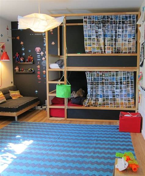 double kura bunks with chalkboard paint sides mommo design kura bed makeover kids room