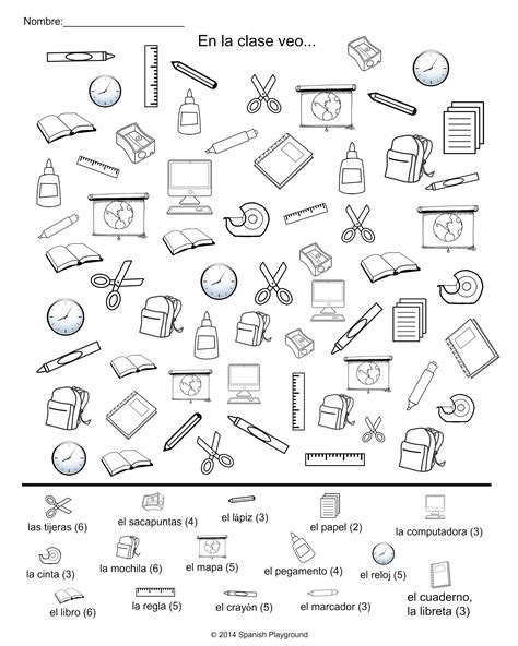 printable games classroom spanish classroom vocabulary picture search spanish