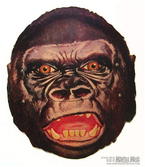 printable vintage halloween masks free king kong gorilla printable mask