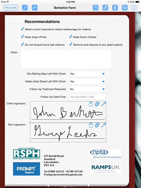 Pest Control Uses Ipad To Prepare Service Report Form Connections Pest Service Report Template