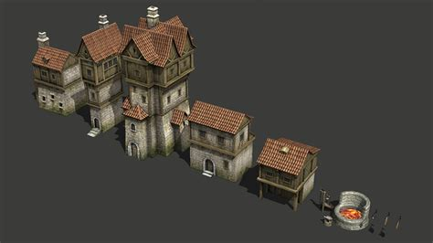 Medieval buildings pack 3D Model Game ready .max