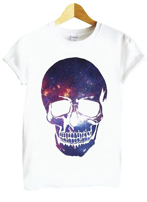 Skull Space skull space purple galaxy silhouette white t shirt